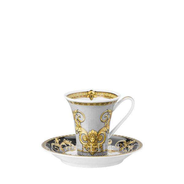 versace cup and saucer 2 tall prestige gala
