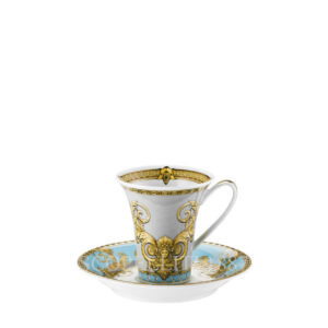 versace cup and saucer 2 tall prestige gala bleu