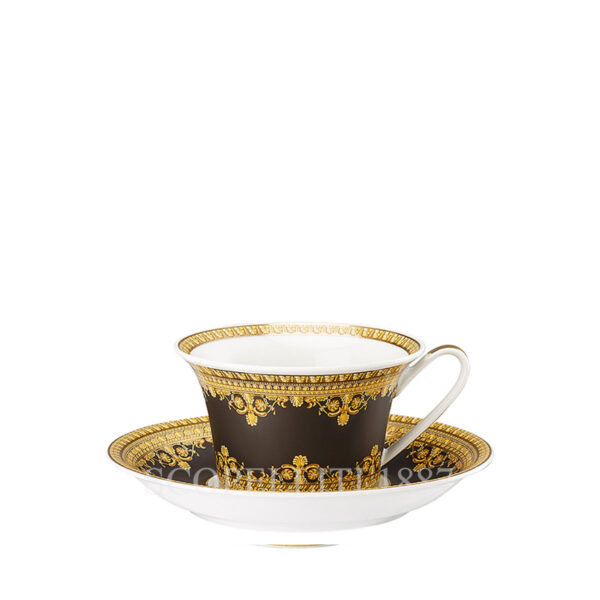 versace cup and saucer 4 low baroque black