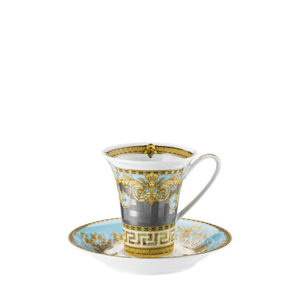 versace cup and saucer 4 tall prestige gala bleu