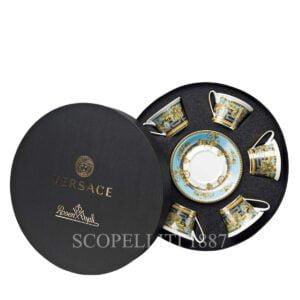 versace set 6 cup and saucer 4 low prestige gala bleu