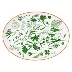 hermes a walk in the garden oval platter 36 cm 02