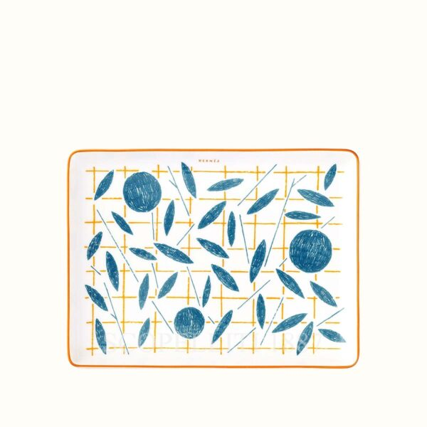 hermes a walk in the garden small tray 16×12 cm