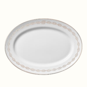 hermes chaine d ancre platine oval platter 42 cm