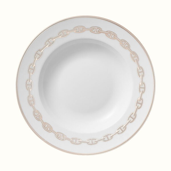 hermes chaine d ancre platine soup plate 22 cm