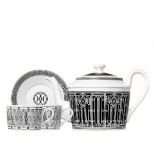 hermes h deco gift set of a teapot 6 persons and 2 tea cups and saucers