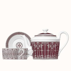 hermes h deco rouge gift set of a teapot 6 persons and 2 tea cups and saucers