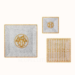 hermes mosaique au 24 or gift set of 3 square plates (n1 to n3)