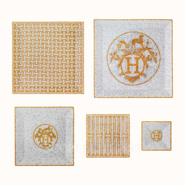 hermes mosaique au 24 or gift set of 5 square plates (n1 to n5)