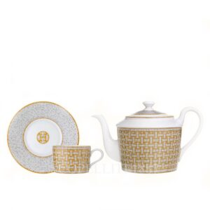 hermes mosaique au 24 or gift set teapot and 2 cups