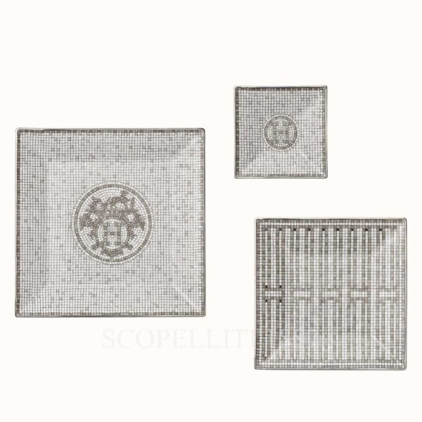 hermes mosaique au 24 platine gift set of 3 square plates (n1 to n3)