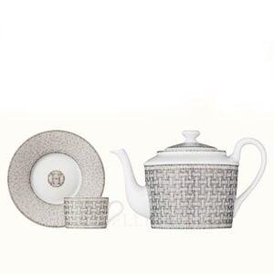 hermes mosaique au 24 platine set teapot and 2 cups
