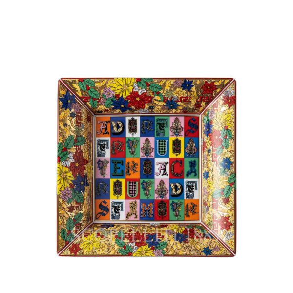 versace christmas holiday alphabet square dish 18 cm