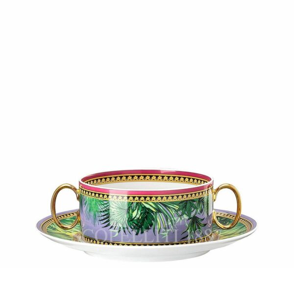 versace jungle animalier creamsoup cup and saucer