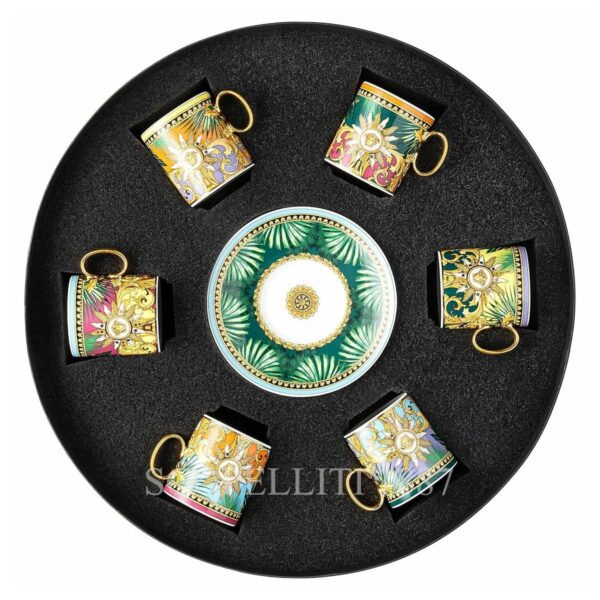 versace jungle animalier gift set of 6 espresso cups and saucers