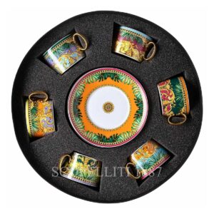 versace jungle animalier gift set of 6 tea cups and saucers