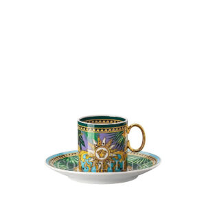 versace jungle animalier green espresso cup and saucer
