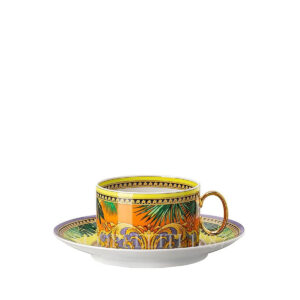 versace jungle animalier yellow tea cup and saucer