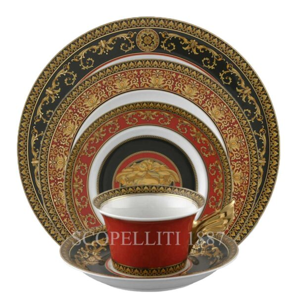 versace medusa red 5-piece place setting