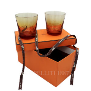 hermes attelage set of 2 crystal amber tumbler