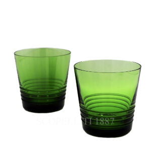 hermes attelage set of 2 crystal green tumbler