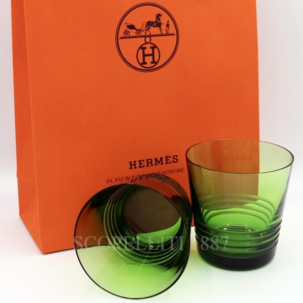 hermes attelage set of 2 crystal green tumbler