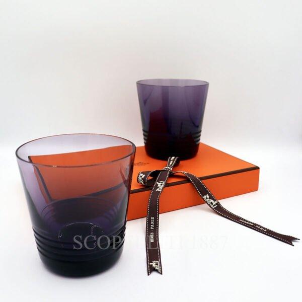 hermes attelage set of 2 crystal purple tumbler