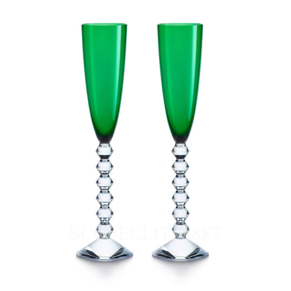 baccarat gift set of two flutes vega green