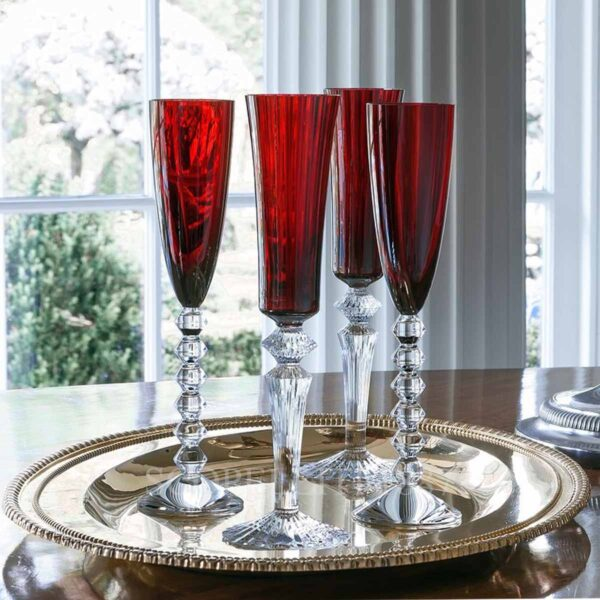 baccarat gift set of two flutes vega red
