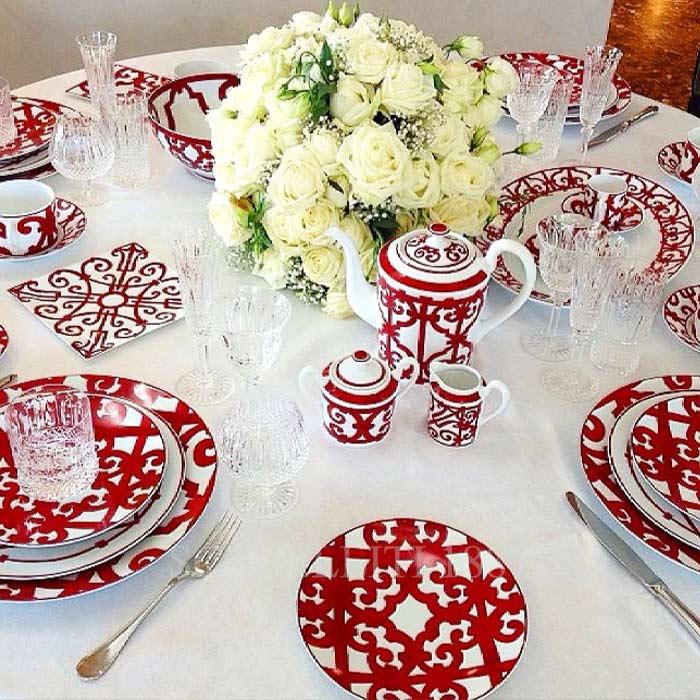 hermes red christmas tableware