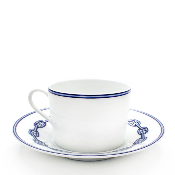 hermes chaine d'ancre bleu tea cup and saucer