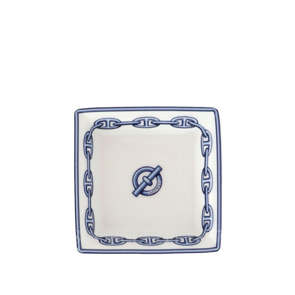hermes chaine d'ancre bleu small square plate