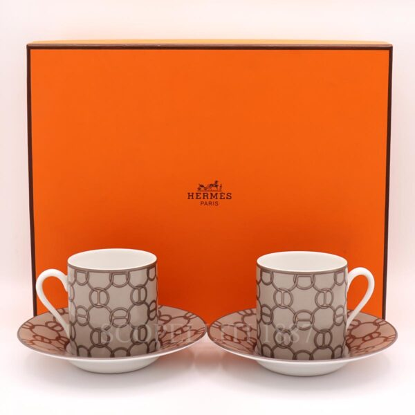 hermes fil d'argent coffee cup and saucer