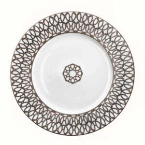 hermes fil d'argent blanc dessert plate