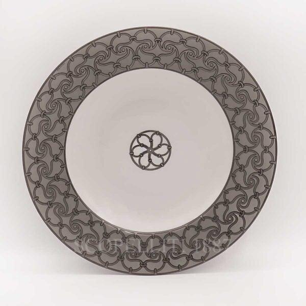 hermes fil d'argent gris soup plate