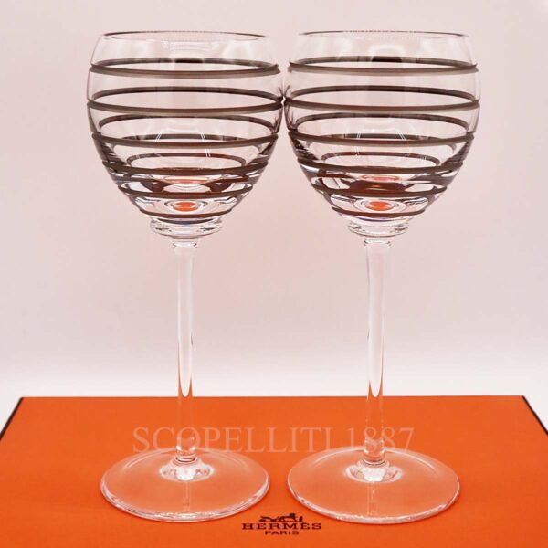 hermes fanfare set of 2 crystal red wine glasses
