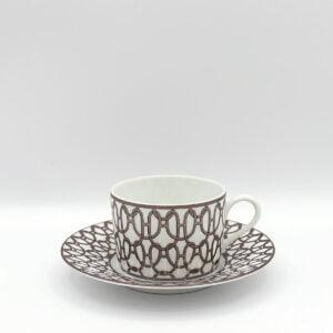 hermes fil d'argent blanc tea cup and saucer