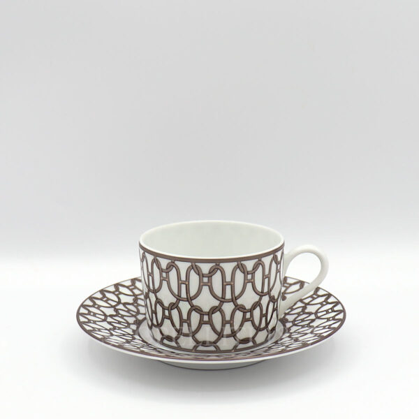 hermes fil d'argent blanc tea cup and saucer