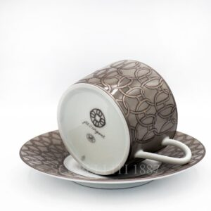 hermes fil d'argent gris tea cup and saucer