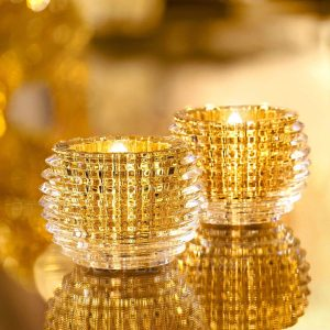 baccarat crystal gold eye votive set