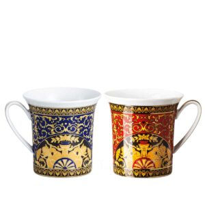 versace medusa red and blue set of two mugs