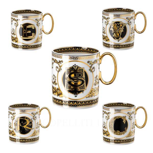 versace virtus alphabet mugs