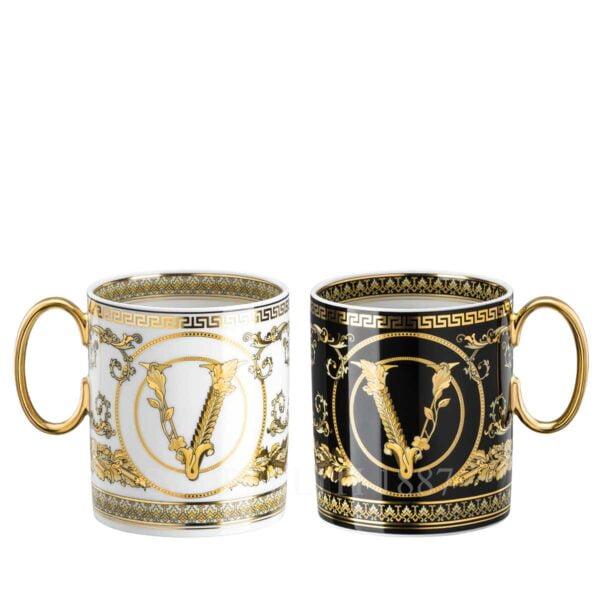 versace virtus gala black and white set of two mugs