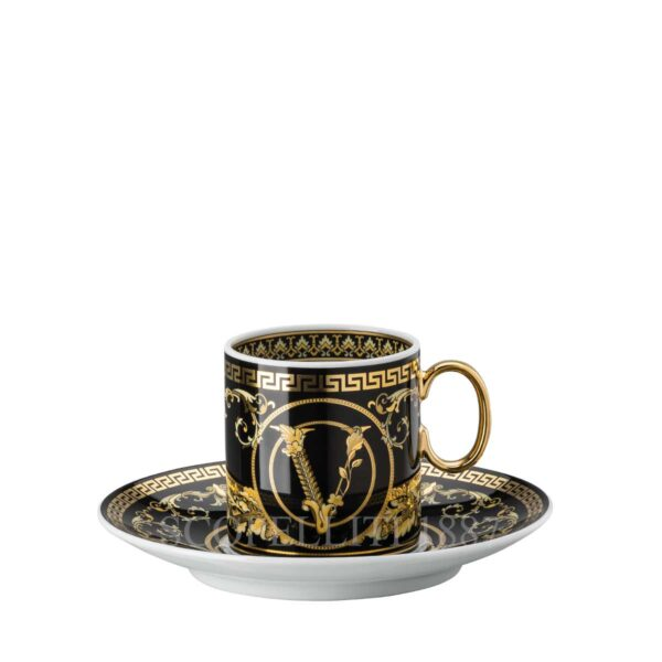 versace virtus gala black espresso cup and saucer