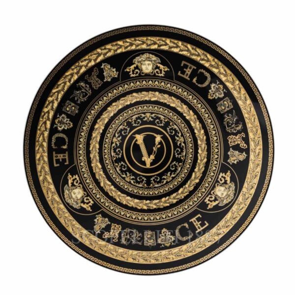 versace virtus gala black service plate 33 cm