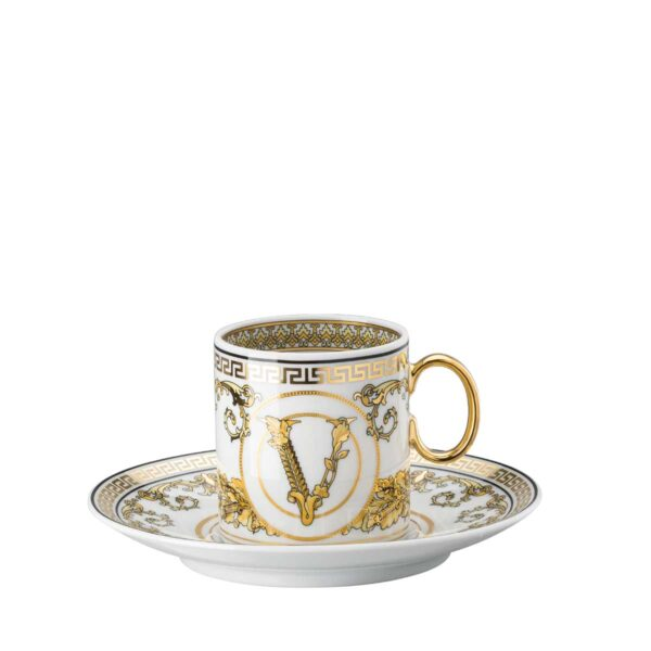 versace virtus gala white espresso cup and saucer