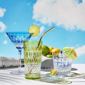 saint louis tommy cocktail glass light blue