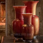 venini opalino ox blood red with gold leaf
