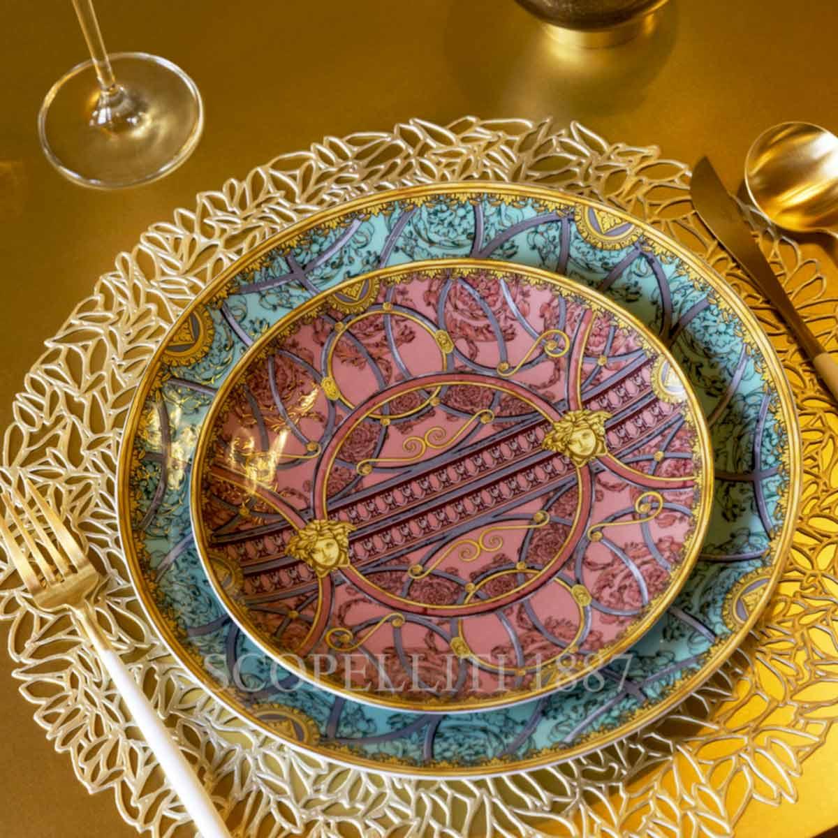 versace la scala del palazzo rose dessert plate