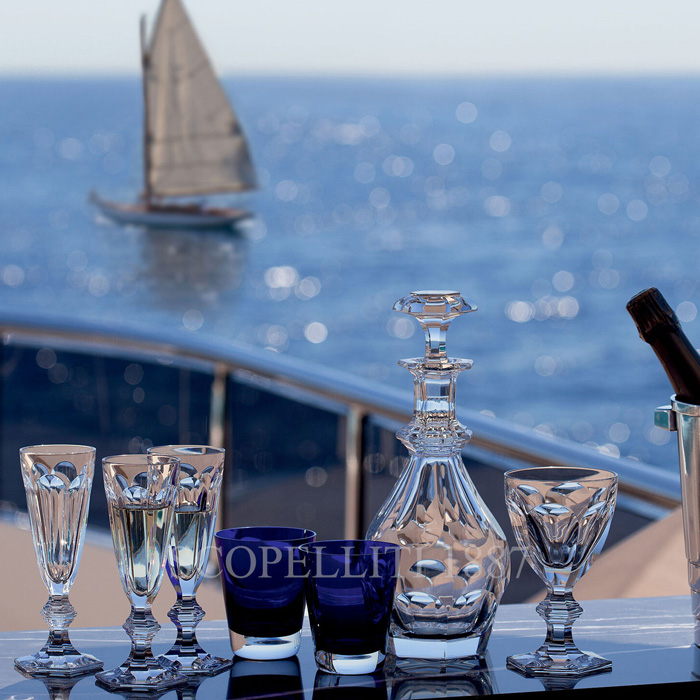 baccarat crystalware on luxury yachts